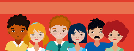 Young womens and mens cartoons vector illustration graphic design