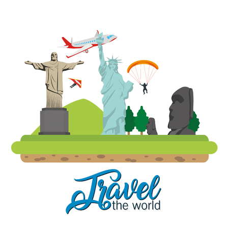 Travel the world redentor christ and liberty statue with airplane vector illustration graphic design Illustration
