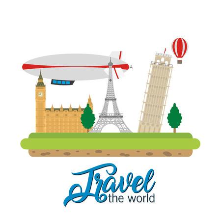 Travel the world monument scenery vector illustration graphic design Çizim