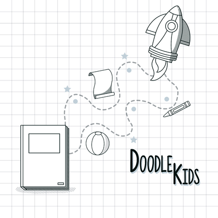Doodle kids cartoons with book and rocket and sheets vector illustration graphic design Illustration