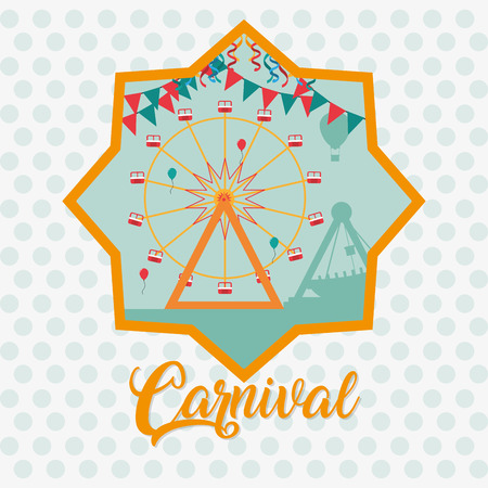 Carnival festival with ferris wheels cartoons vector illustration graphic design