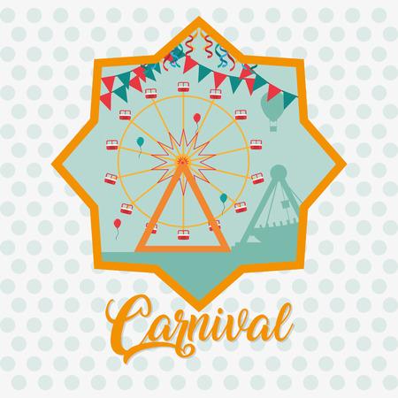 Carnival festival with ferris wheels cartoons vector illustration graphic design