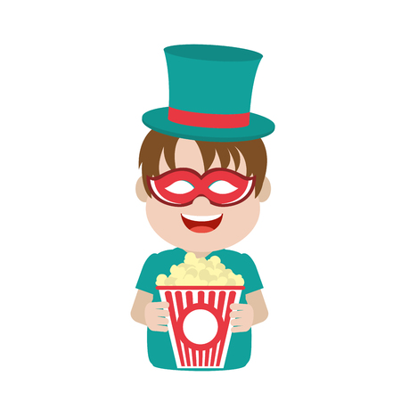 nice carnival boy with hat and mask vector illustration Banque d'images - 110353678