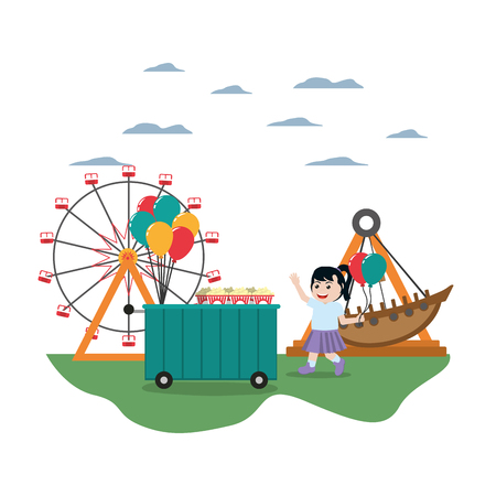 happy girl with balloons and carnival games vector illustration Vectores