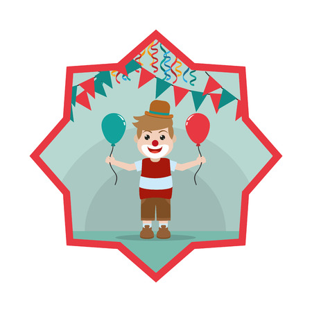 nice clown boy with balloon and party flags inside star vector illustration Banque d'images - 110353731
