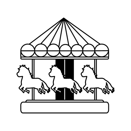 line mechanical horse ride carnival game vector illustration