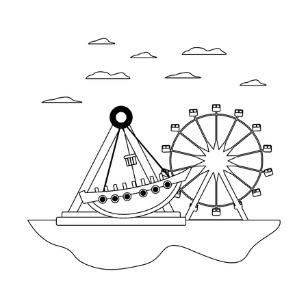 line mechanical ship ride and ferris wheel games vector illustration