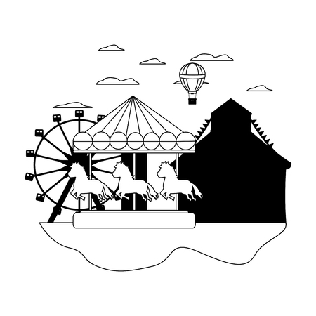line mechanical horse ride and air balloon vector illustration