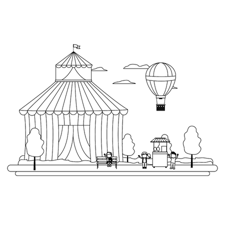 line circus with shop carnival and air balloon