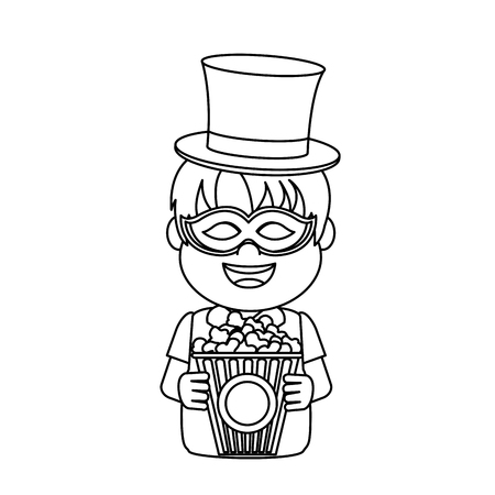 line nice carnival boy with hat and mask vector illustration Banque d'images - 110353776