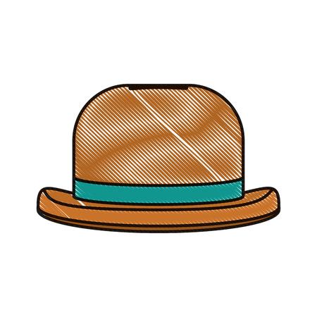 Doodle moda sombrero objeto estilo carnaval ilustración vectorial