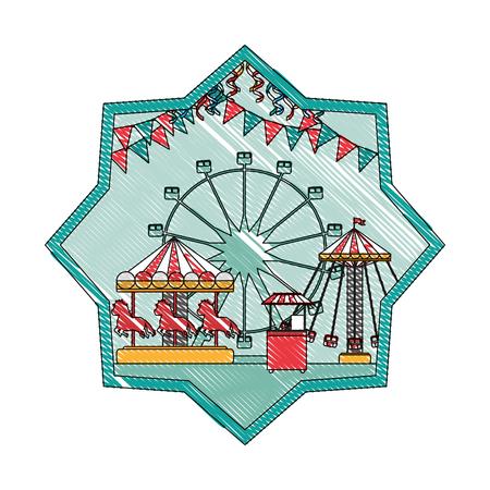doodle mechanical ride carnival games inside star vector illustration