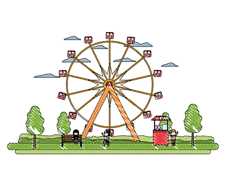 doodle ferris wheel mechanical and children with shop, vector illustration