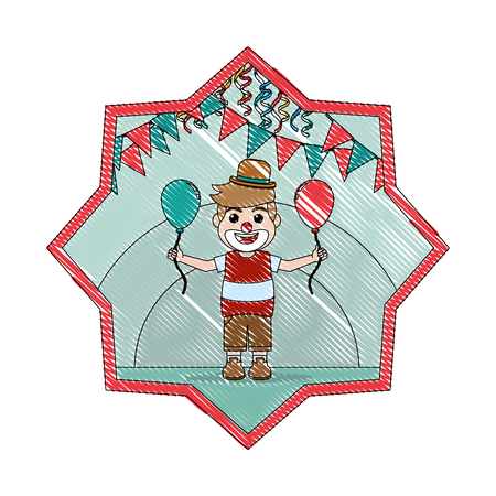 doodle nice clown boy with balloon and party flags inside star vector illustration Banque d'images - 110353869