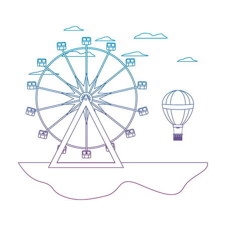 degraded line carnival with ferris wheel mechanical and air balloon vector illustration