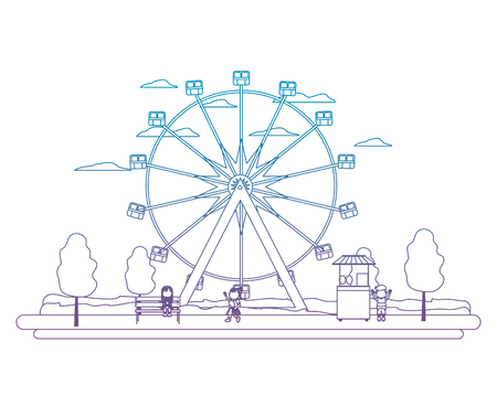 degraded line ferris wheel mechanical and children with shop vector illustration