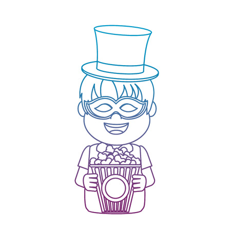 degraded line nice carnival boy with hat and mask vector illustration Banque d'images - 110353951