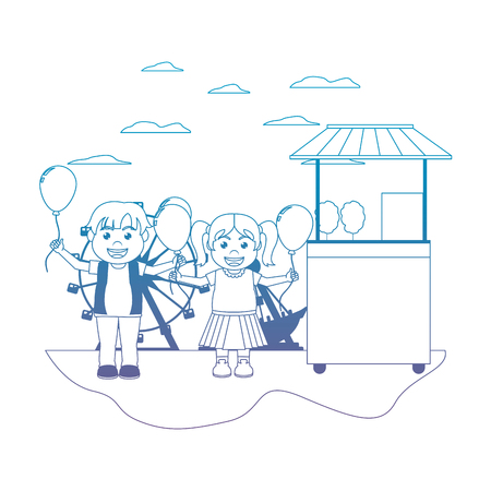 degraded line carnival shop with happy children and balloons vector illustration
