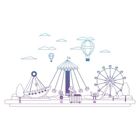 degraded line funny carnival mechanical ride games vector illustration
