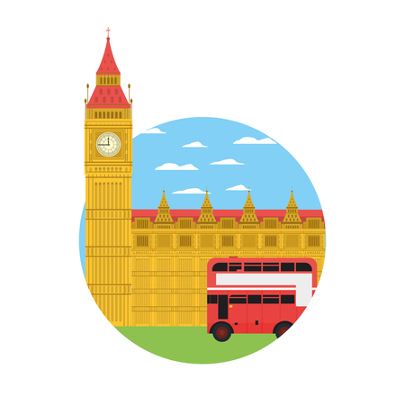 london clock tower and urban bus