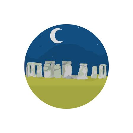 Stonehenge sculptuur 's nachts landschap met maan