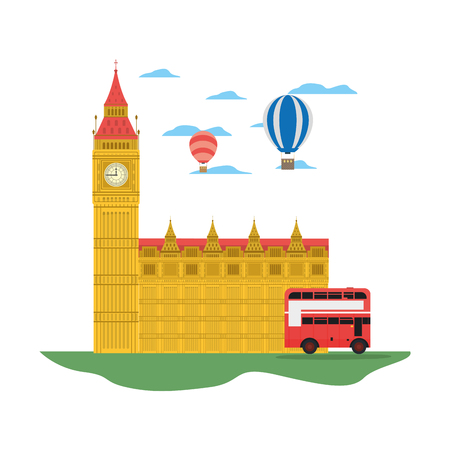 london clock tower with air balloon and bus