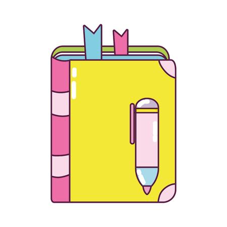 education book with highlighter pen utensils vector illustration
