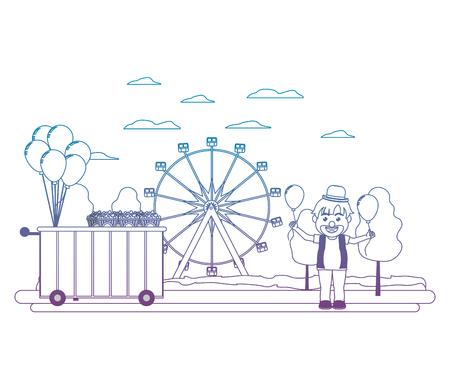 degraded line carnival shop car and clown boy vector illustration
