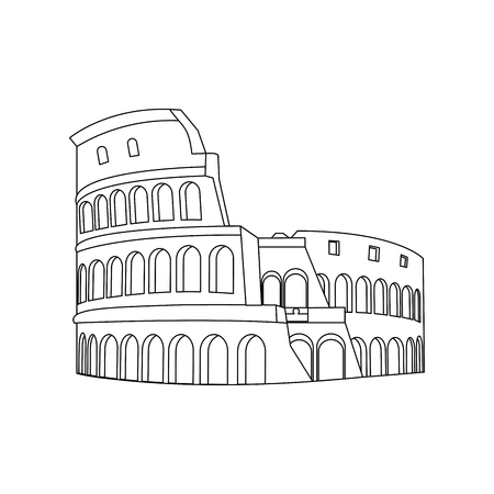 line medieval coliseum rome architecture design