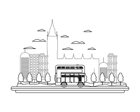 line london urban bus and nice cityscape Banco de Imagens - 107632064