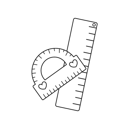 line protactor and ruler school utensils style vector illustration