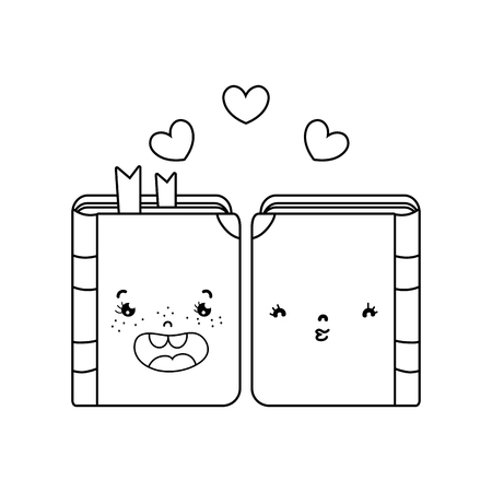 line kawaii couple book together with hearts vector illustration