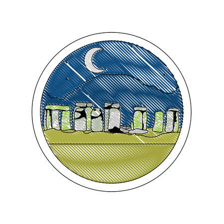 doodle stonehenge sculpture at night landscape with moon