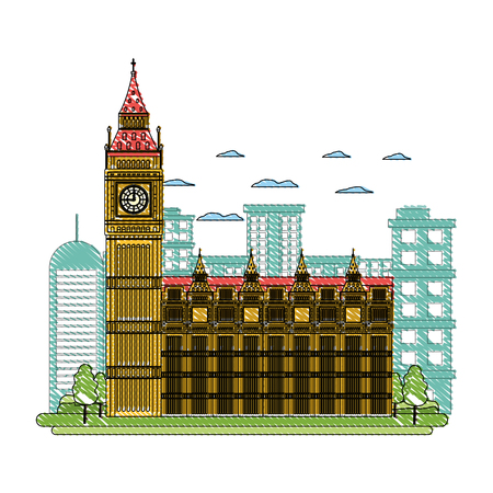doodle london clock tower and nice trees Illustration