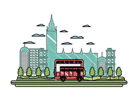 doodle london urban bus and nice cityscape