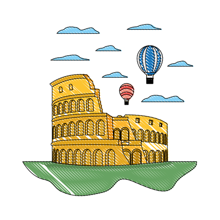 doodle coliseum rome and funny air balloons