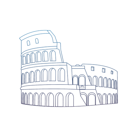 degraded line medieval coliseum rome architecture design