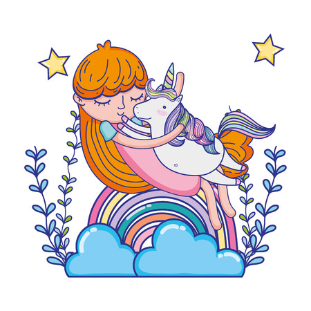 girl hugging unicorn with rainbow and branches vector illustration
