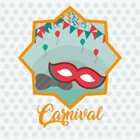 Carnival festival with mask and pennants vector illustration graphic design Illusztráció