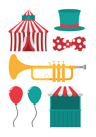 Set of carnival cartoons elements collection vector illustration graphic design