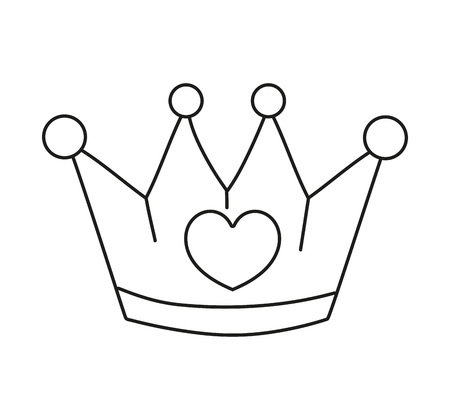 line metal crown luxury accessory with heart vector illustration Vektoros illusztráció