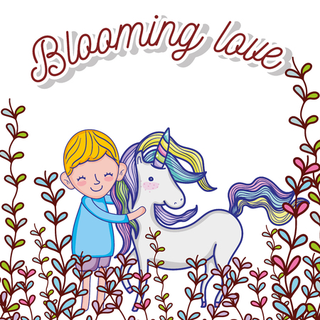 Boy hugs unicorn with flowers cute cartoons vector illustration graphic design