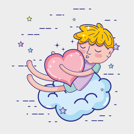 Cute boy on cloud with heart tedner cartoons vector illustration graphic design Vettoriali