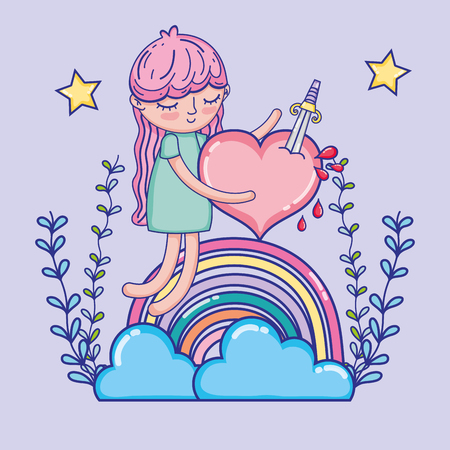 Lovely girl with heart and rainbows cartoon vector illustration graphic design  イラスト・ベクター素材