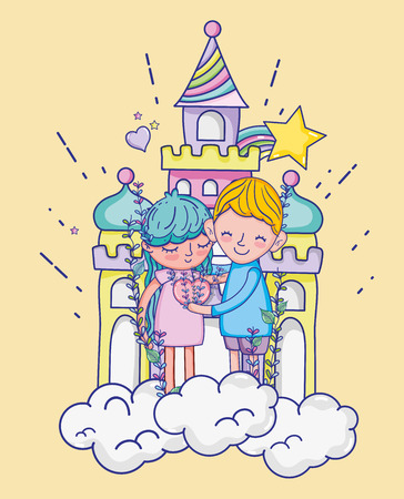 Boy and girl in love cartoons Illustration