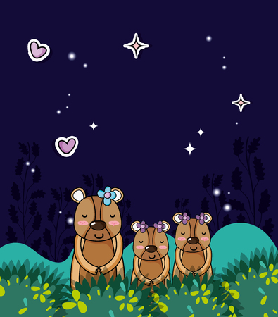 Cute family bears in the jungle at night cartoons vector illustration graphic design