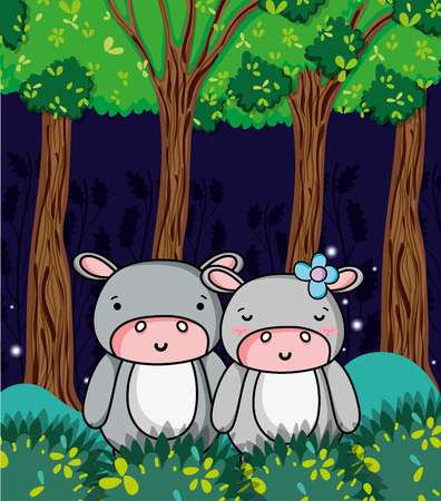 Cute hippos at jungle cartoons vector illustration graphic design 矢量图像