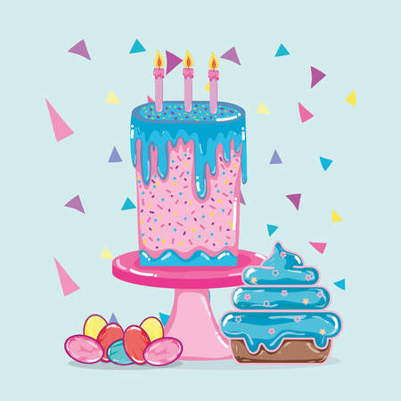 Birthday cake and cupcake with candies vector illustration graphic design
