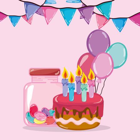 Birthday celebration and candies cartoons vector illustration graphic design