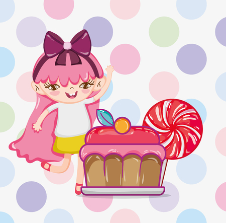 Girl with cake and candy cartoons vector illustration graphic design Illustration